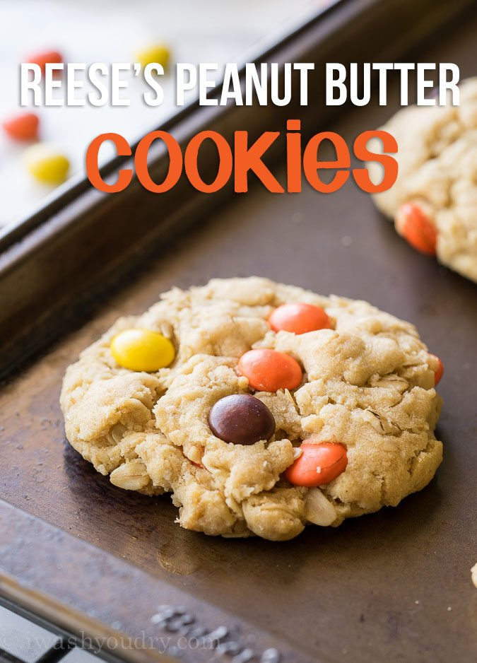Reeses Peanut Butter Oatmeal Cookies are filled with peanut butter, oats and peanut butter candies! They're light, butter and a a little chewy on the inside.