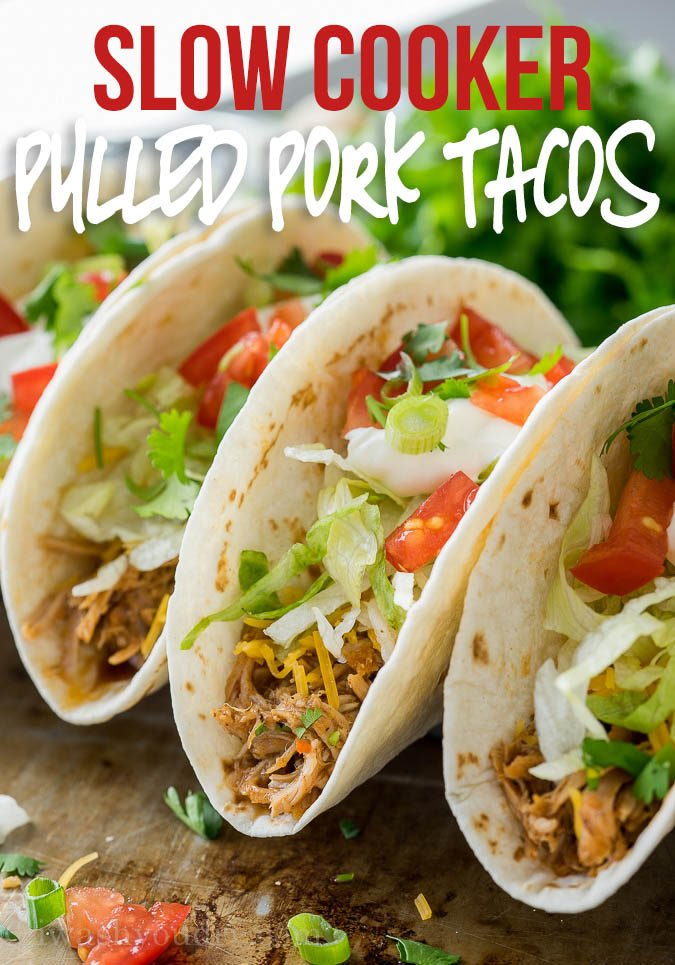 These Easy Slow Cooker Sweet Pulled Pork Tacos have the best flavor! My family constantly requests them for our taco night dinners!