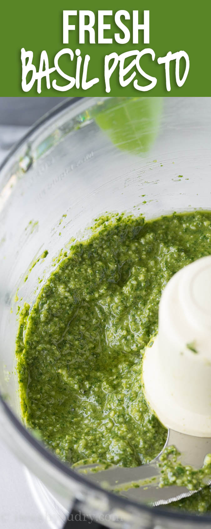This Fresh Basil Pesto Recipe is so EASY!! It's perfect with pasta, shrimp and chicken!