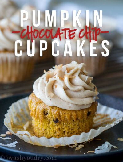These Pumpkin Chocolate Chip Cupcakes with Spiced Cream Cheese Frosting are insanely delicious and so easy! They start with a box cake mix and I can't wait to make them again!