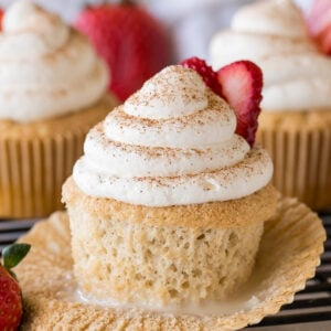 WOW! These Tres Leches Cupcakes are filled with three types of milk and topped with a light and airy whipped cream topping! So delicious and SO EASY!