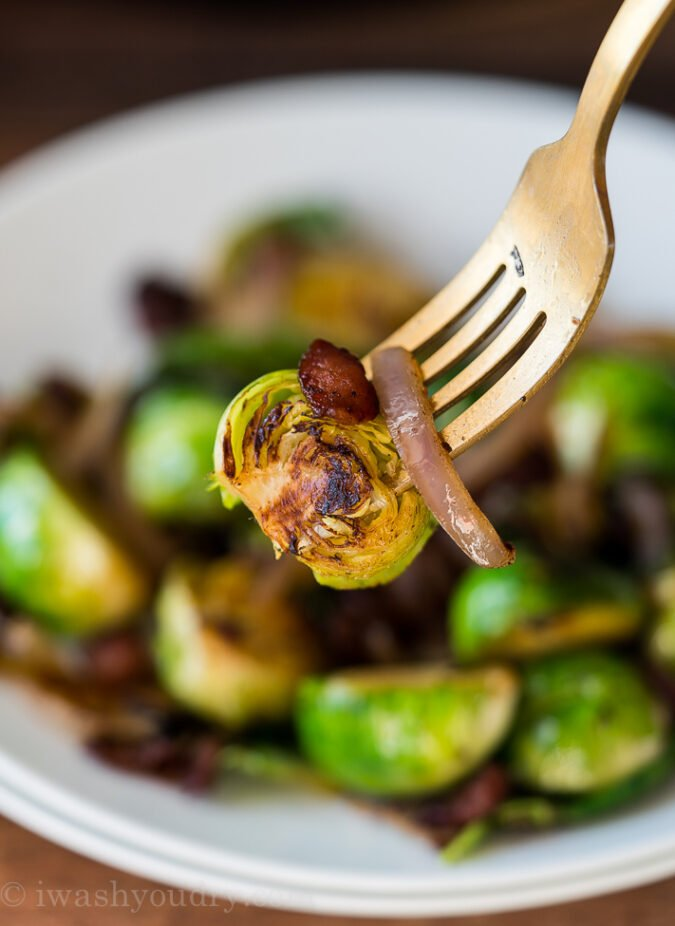 WOW! These quick and easy Brussels Sprouts and Bacon is our new favorite side dish! It pairs perfectly with grilled chicken or steak!