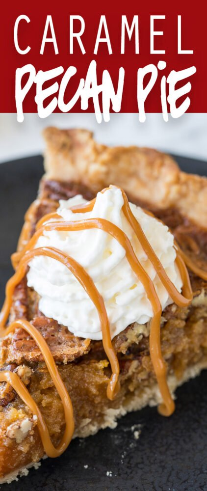 This Caramel Pecan Pie recipe is my new favorite Thanksgiving pie! So easy and no corn syrup!