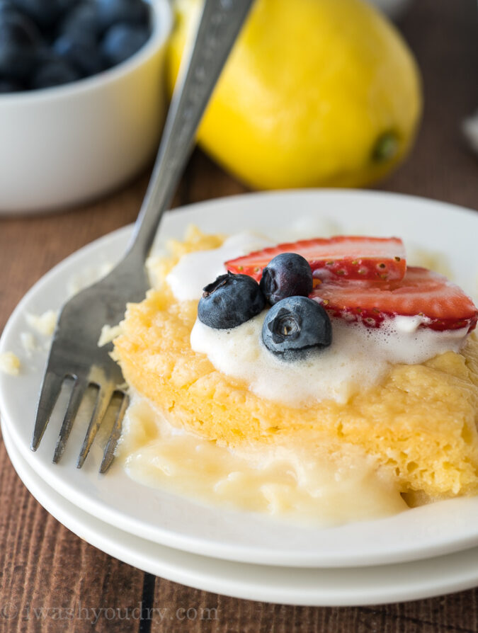 This delicious Lemon Pudding Cake is just 5 simple ingredients and SO EASY to make! My whole family LOVES it!