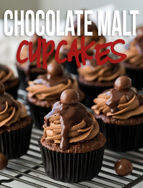 These Chocolate Malt Cupcakes are topped with a delicious Chocolate Malt Buttercream Frosting and a smooth and creamy chocolate ganache! Impressive, yet SO EASY to make!
