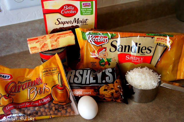 A display of needed ingredients to make Gooey Samoa Cake Bars