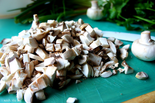 Chopped mushrooms in a pile