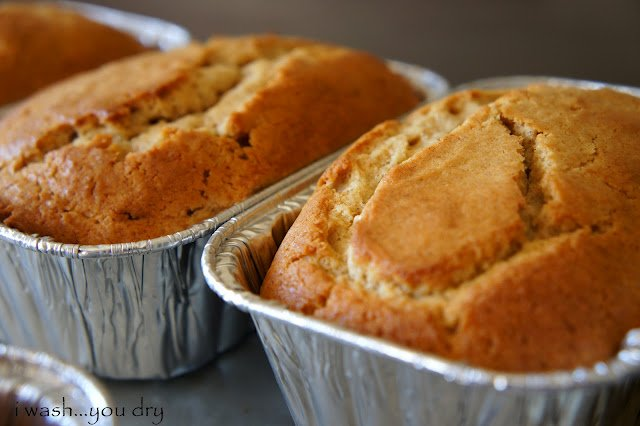A close up of a couple loaves of Eggnog Bread