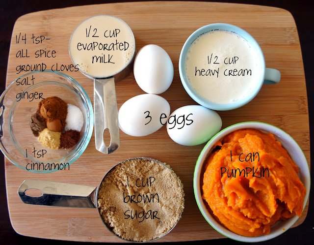A display of measured ingredients needed to make the perfect pumpkin pie