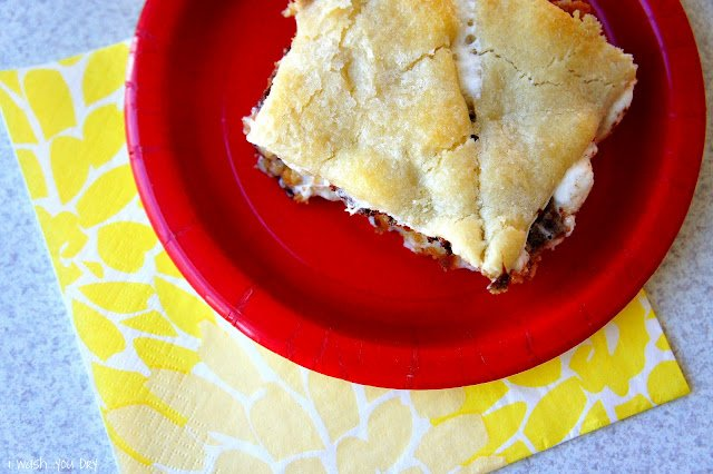 A square of Hidden S\'mores - Dessert Casserole on a plate