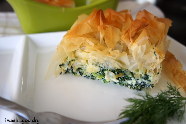 A slice of Pie Style Spanakopita displayed on a plate