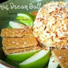 "A cream cheese ball displayed on a plate surrounded with apple slices and graham crackers titled, ""Coconut Dream Ball"""