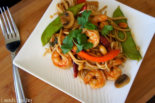 Kung Pao Shrimp Lo Mein displayed on a plate