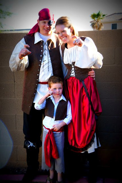 A family dressed as pirates