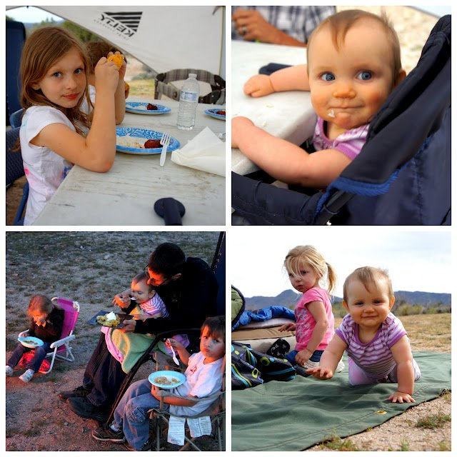 Collage of pictures of a family camping