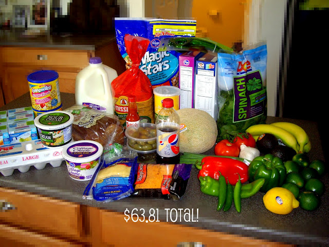 A display of food bought on a grocery trip.