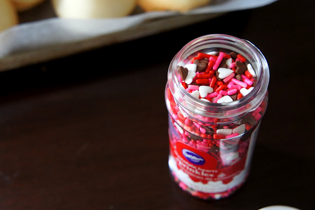 A close up of Valentines themed sprinkles