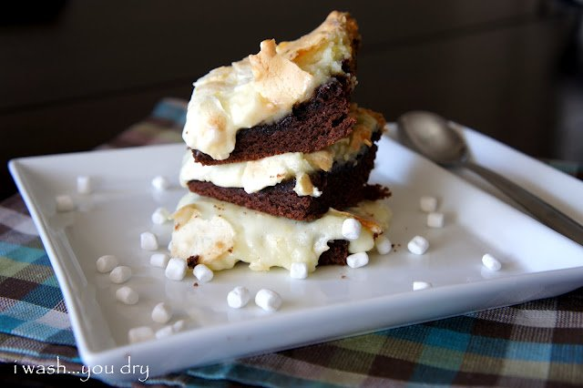 Gooey Hot Chocolate Cake Bars stacked on a plate