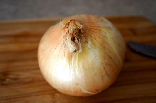 A close up of an onion