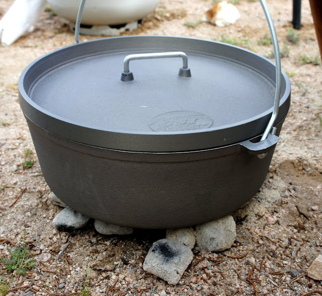 A dutch oven sitting on coals in the dirt