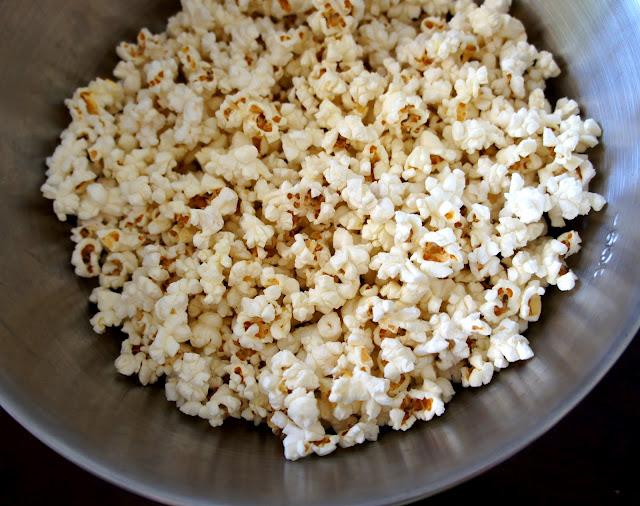 A pot popped popcorn
