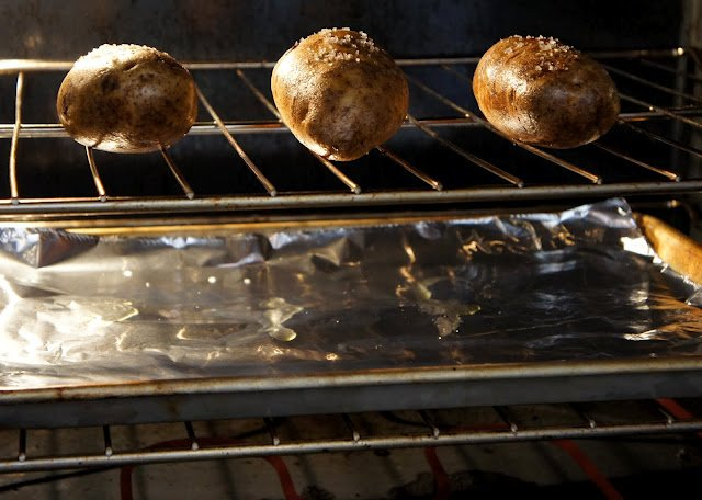 A metal rack in an oven