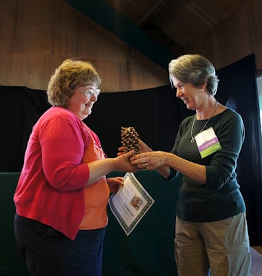 Mimi from Mimi Avocado being presented the Golden Pine Cone Award at Camp Blogaway 2012