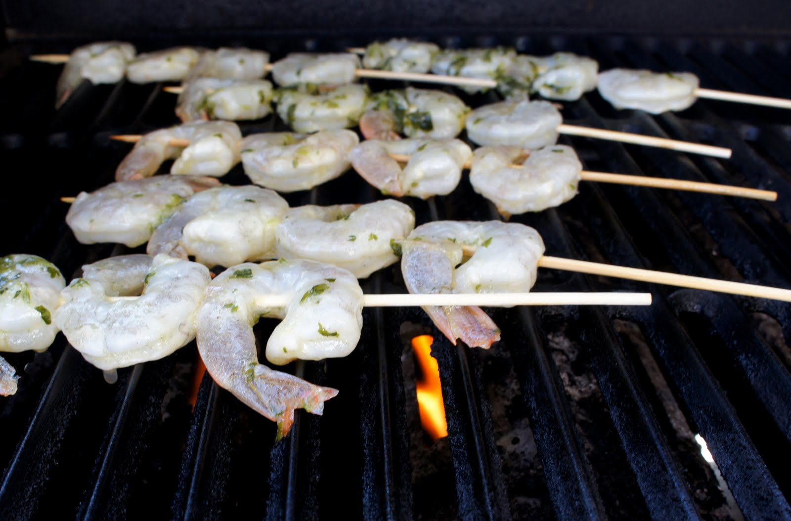 Grilled Lemon and Cilantro Shrimp Skewers