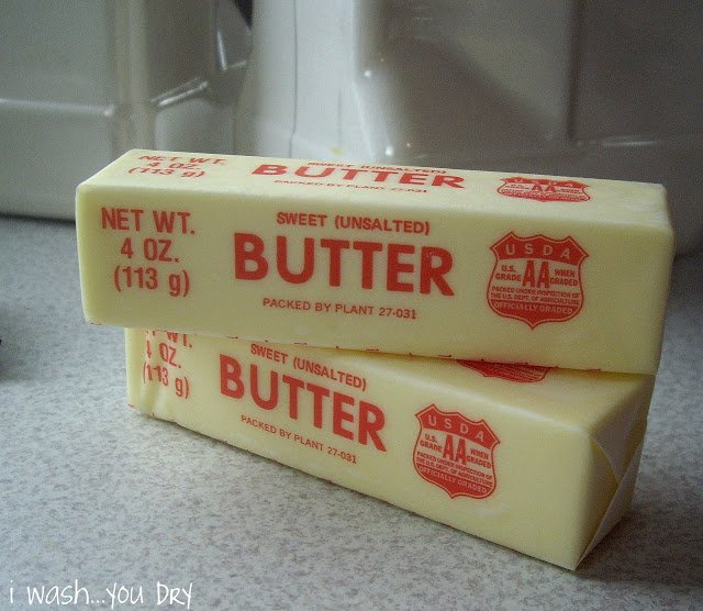 Two stick of butter stacked on top of each other.