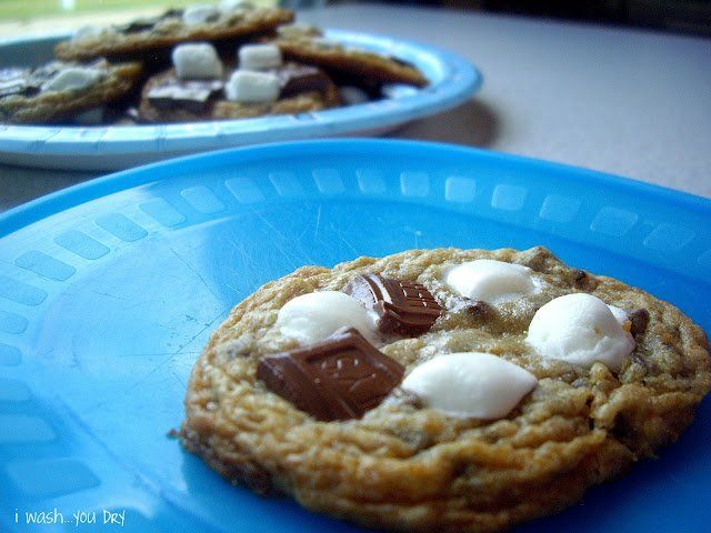 A plate with a baked cookie with chocolate bits and marshmallow.