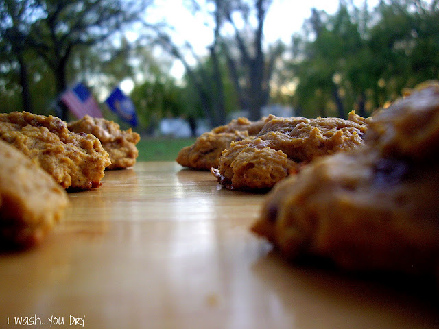 Cookies on a table outside.