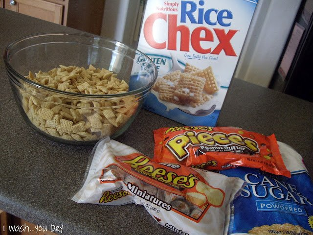 A display of needed ingredients to make White Chocolate Muddy Buddy Mix.