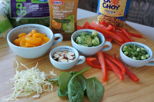 A display of measured and chopped ingredients needed to make Asian Chicken Salad.