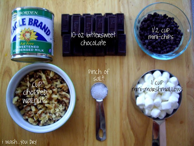 A display of needed ingredients to make Rocky Road Fudge.