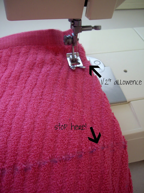 A sew machine sewing the edge on a dish towel.