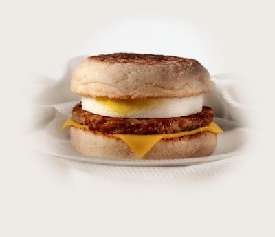 A display of a McDonalds English Muffin Sandwich.