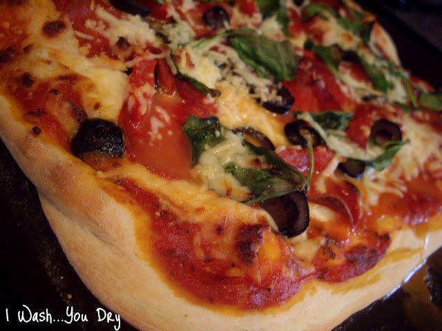 A close up of homemade pizza.