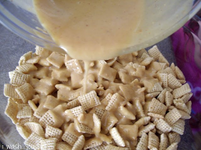 ... large bowl. Pour the White Chocolate Peanut Butter mix on top