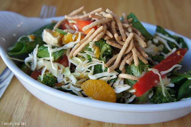 A close up of a salad on a plate, with chicken, mandarin orange slices and chow mein.