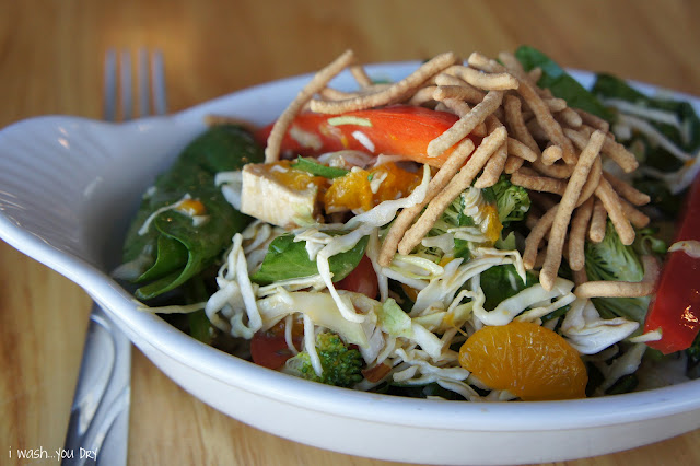A close up of salad in a bowl with with chicken, orange slices and topped with chow mein.