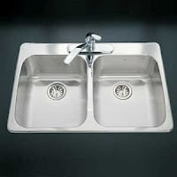 A display of a shiny sink.