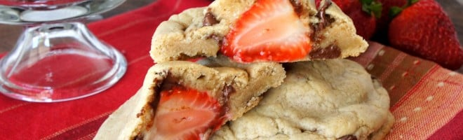 strawberry stuffed chocolate chip cookie