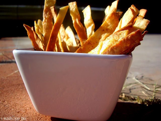 A bowl of baked tortilla chips