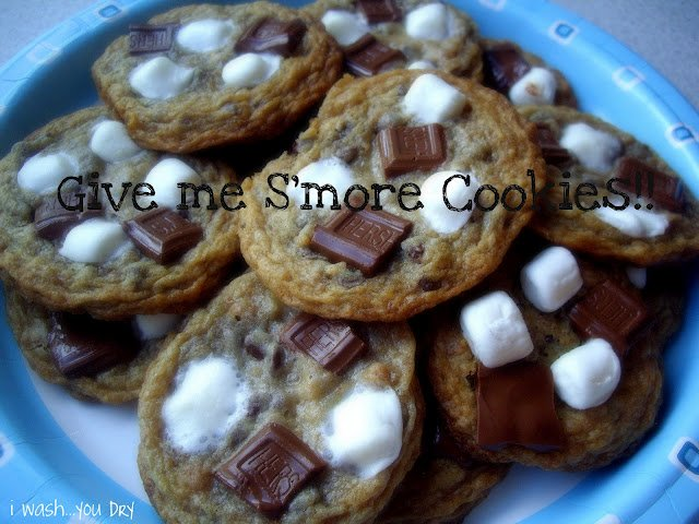 """A plate of cookies with the title, \"""" Give me S\'more Cookies."""