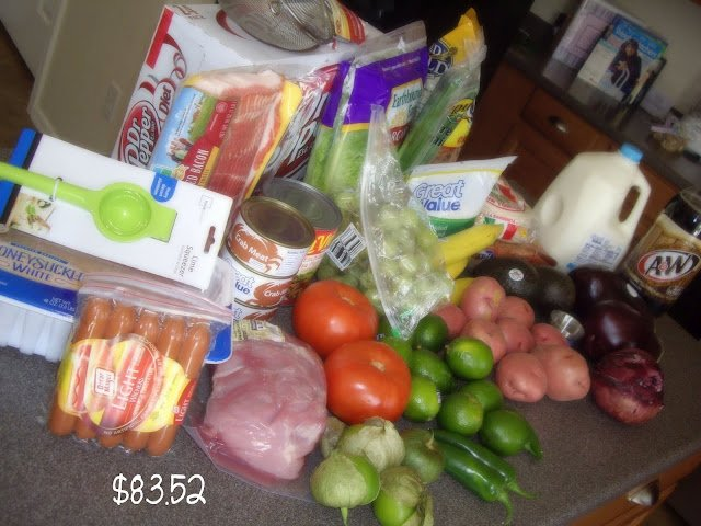 A display of food bought from a grocery trip.