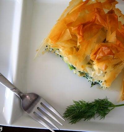 Pie Style Spanakopita displayed on a plate