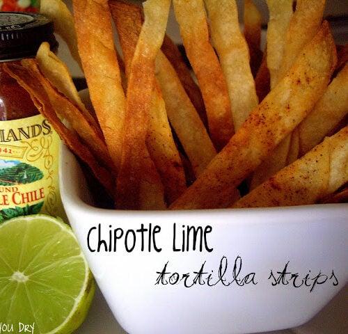 A bowl displaying homemade tortilla strips.