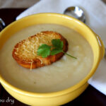 Creamy Cauliflower Soup with Asiago Croutons