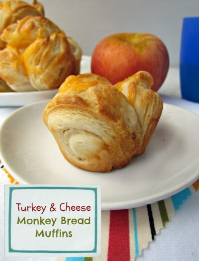A Turkey & Cheese Monkey Bread displayed on a plate