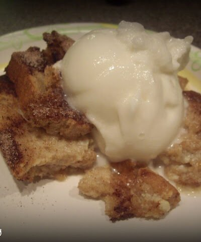 Bread topped with pudding.